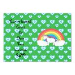 Rainbow unicorn with blue hearts on green 5x7 paper invitation card