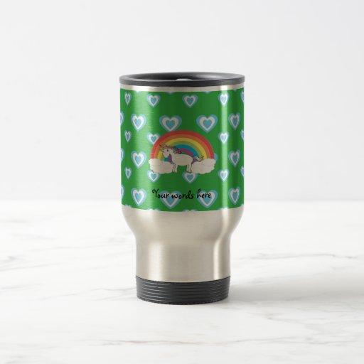 Rainbow unicorn with blue hearts on green 15 oz stainless steel travel mug