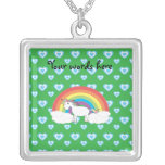 Rainbow unicorn with blue hearts on green square pendant necklace