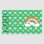 Rainbow unicorn with blue hearts on green rectangular sticker