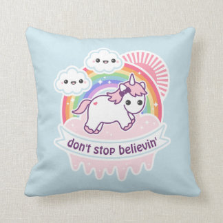 Rainbow Unicorn with Clouds Throw Pillow