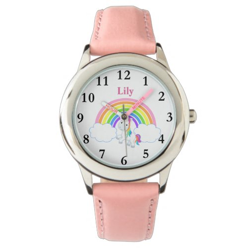 Rainbow Unicorn with Name Girls Watch