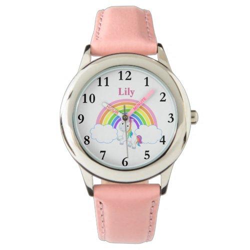 Rainbow Unicorn with Name Girls Watch