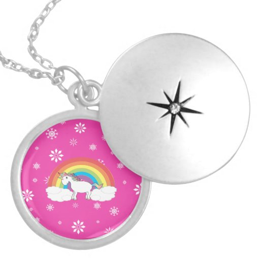 Rainbow unicorn with pink snowflakes necklace
