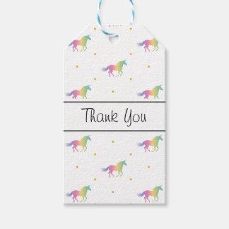 Rainbow Unicorns & Gold Stars Pattern Gift Tags