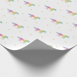 Rainbow Unicorns & Gold Stars Pattern Wrapping Paper