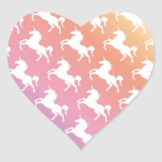 Rainbow Unicorns II Heart Sticker