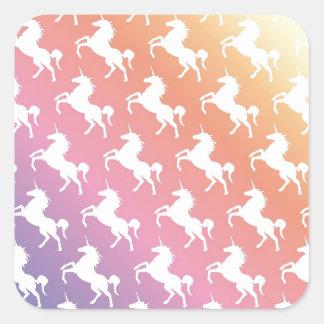 Rainbow Unicorns II Square Sticker