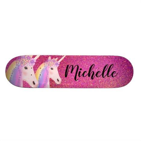 Rainbow Unicorns Pink Glitter Sparkle Personalized Skateboard