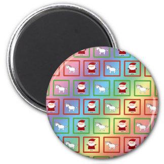 Rainbow unicorns santa claus pattern 2 inch round magnet