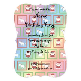 Rainbow unicorns santa claus pattern 5x7 paper invitation card