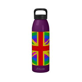 Rainbow Union Jack British Flag Mod Reusable Water Bottles