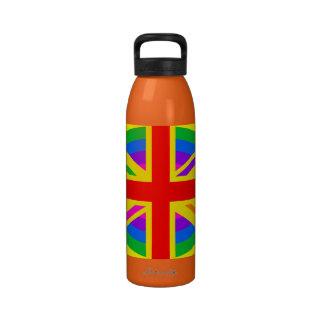 Rainbow Union Jack British Flag Mod Water Bottle
