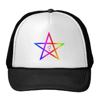 Rainbow Upright Transgender Pentagram Trucker Hat