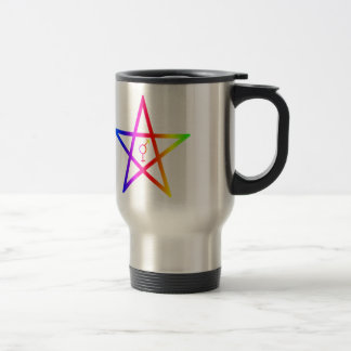 Rainbow Upright Transgender Pentagram Mug