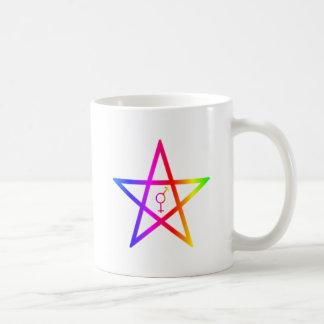 Rainbow Upright Transgender Pentagram Coffee Mugs