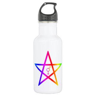 Rainbow Upright Transgender Pentagram 18oz Water Bottle