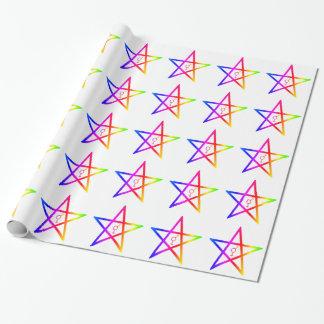 Rainbow Upright Transgender Pentagram Wrapping Paper