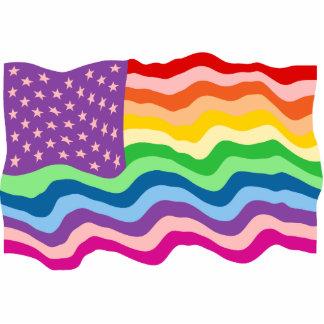 Rainbow US Flag Statuette