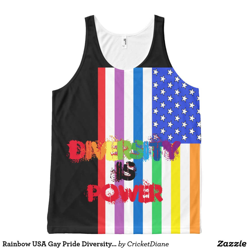 Rainbow USA Gay Pride Diversity CricketDiane LGBT All-Over-Print Tank Top