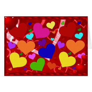 Rainbow Valentine Hearts Card