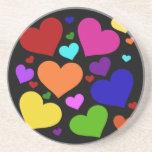 Rainbow Valentine Hearts Drink Coaster