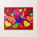 Rainbow Valentine Hearts Jigsaw Puzzle
