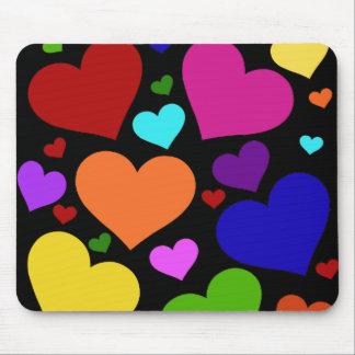 Rainbow Valentine Hearts Mouse Pad