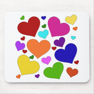 Rainbow Valentine Hearts Mouse Pads