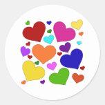 Rainbow Valentine Hearts Round Stickers