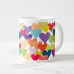Rainbow Valentine's Hearts 20 Oz Large Ceramic Coffee Mug