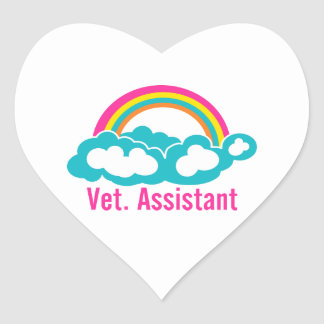 Rainbow Veterinary Assistant Heart Sticker