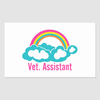 Rainbow Veterinary Assistant Rectangular Sticker
