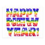 Rainbow Vintage Happy New Year! Postcard
