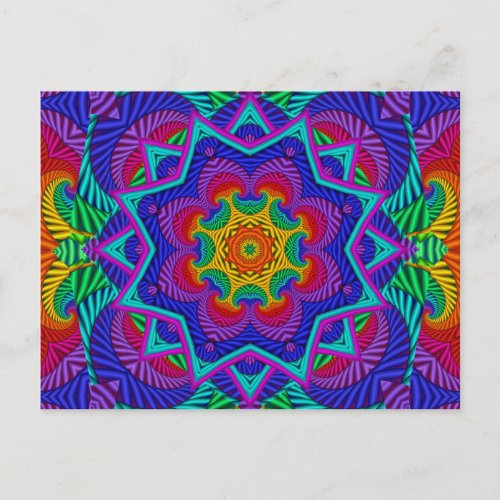 Rainbow Vintage Psychedelic Fractal Kaleidoscope Postcard