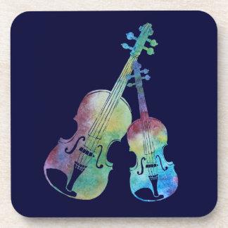 Rainbow Violin and Viola Beverage Coaster