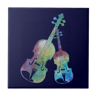 Rainbow Violin and Viola Ceramic Tile