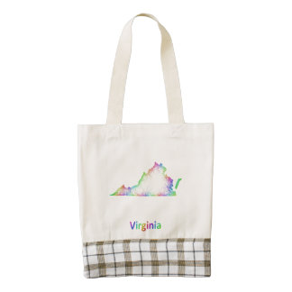 Rainbow Virginia map Zazzle HEART Tote Bag