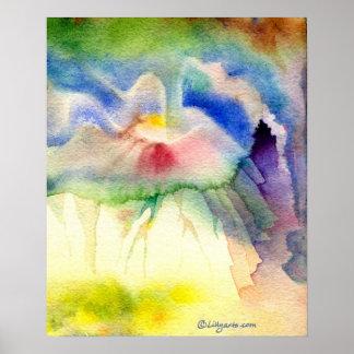 Rainbow Volcano Watercolor Poster