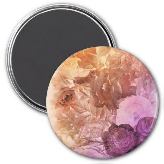 Rainbow Water Color Floral Collage 3 Inch Round Magnet