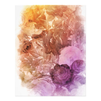 Rainbow Water Color Floral Collage Letterhead