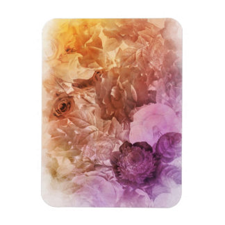 Rainbow Water Color Floral Collage Rectangular Photo Magnet