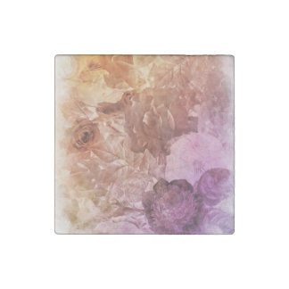 Rainbow Water Color Floral Collage Stone Magnet