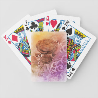 Rainbow Water Color Vintage Rose Bicycle Playing Cards