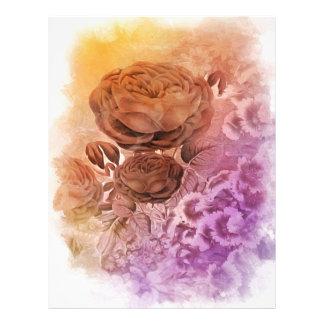 Rainbow Water Color Vintage Rose Letterhead