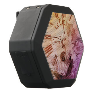Rainbow Water Color Vintage Woman Clock Cat Black Bluetooth Speaker