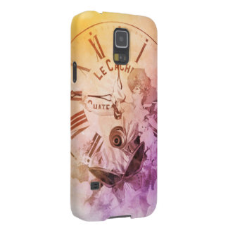 Rainbow Water Color Vintage Woman Clock Cat Cases For Galaxy S5