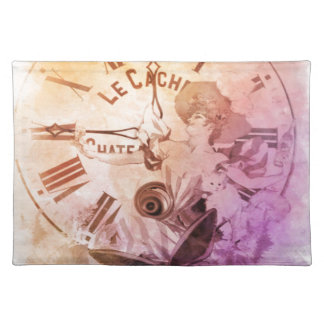 Rainbow Water Color Vintage Woman Clock Cat Cloth Placemat