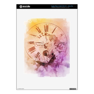 Rainbow Water Color Vintage Woman Clock Cat Skins For iPad 3