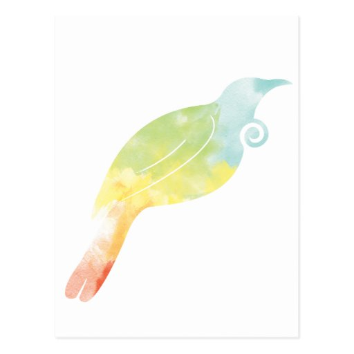 Rainbow Water Colour Tui Post Cards